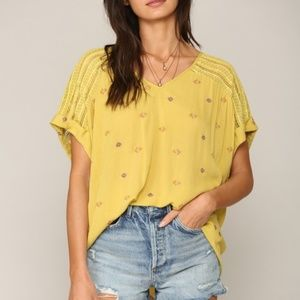 NWT Crochet Lace embroidered Yellow Top